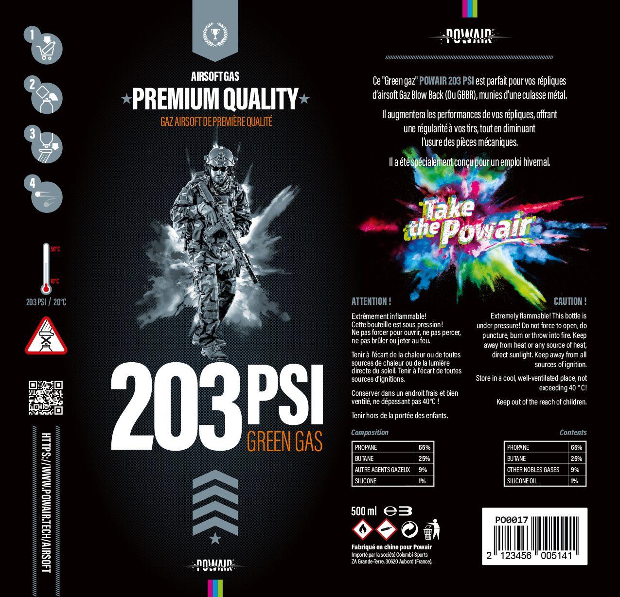 BOUTEILLE DE GAZ 500ML 203 PSI - POWAIR